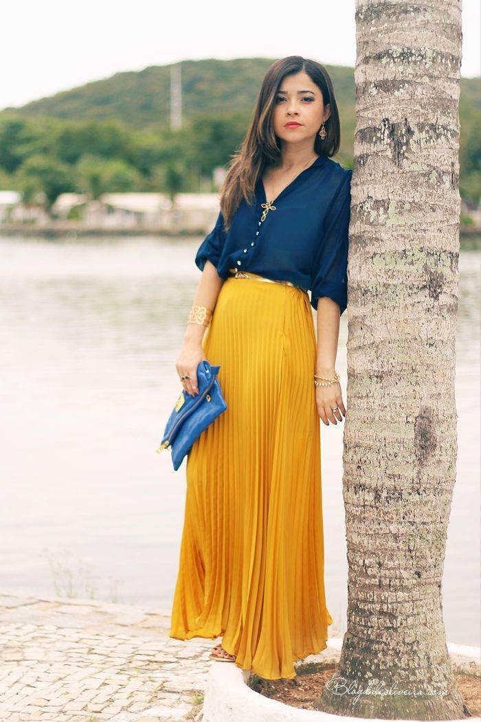blue silk shirt and maxi skirt