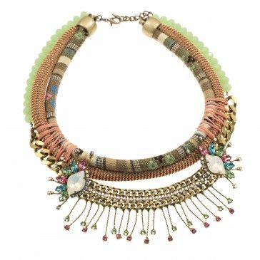Handmade bronze metal plated necklace with Swarovski crystals, strasses, beads and rope, by Art Wear Dimitriadis