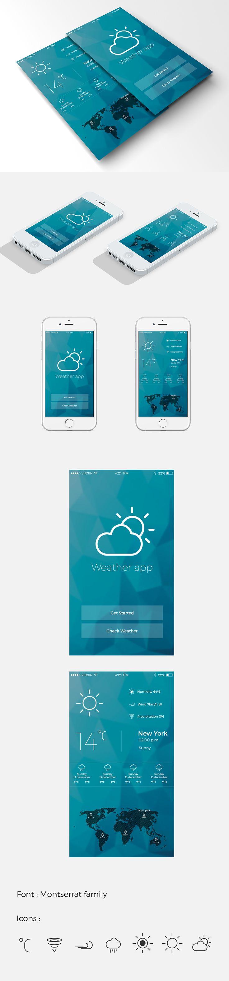 mobile/IOS weather app design on Behance