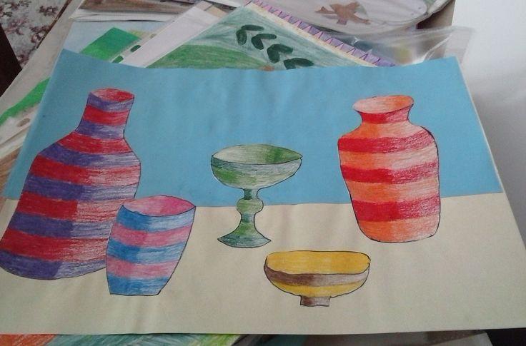 zátiší s olejovými pastely . still life with oil pastels