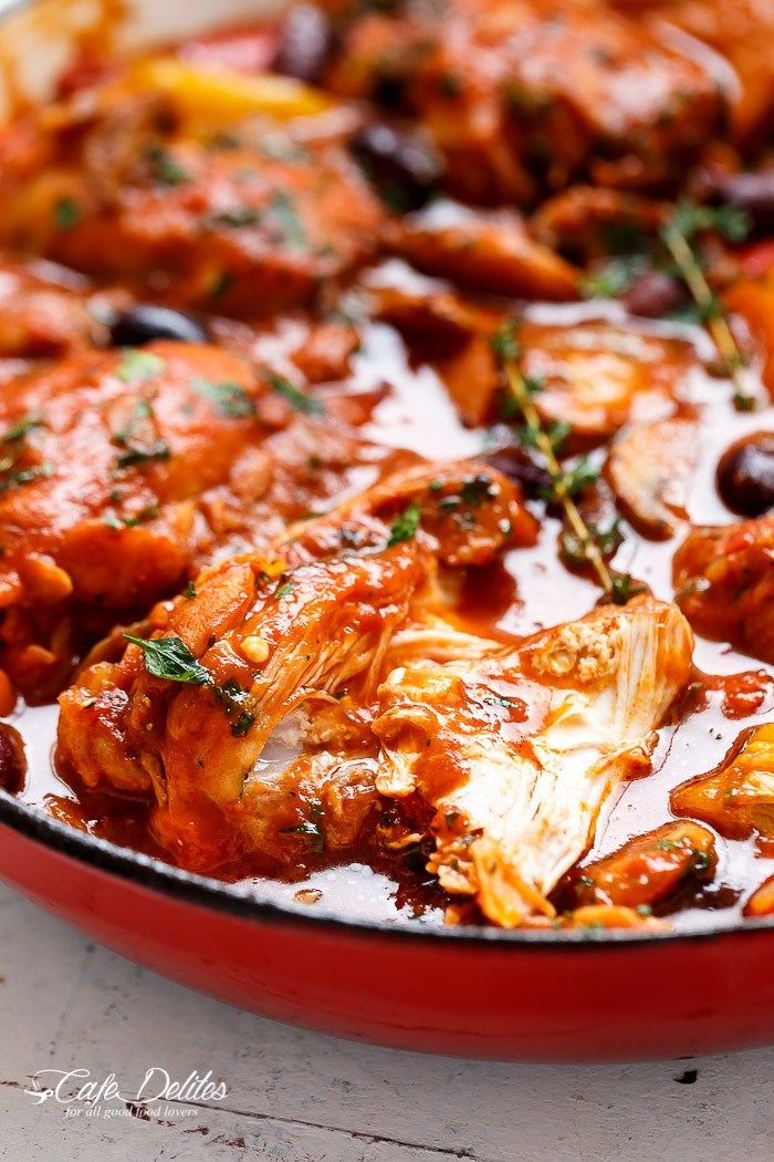 Chicken cacciatore ~ used slow cooker method; browned chicken before adding to slow cooker and added a can of tomato paste