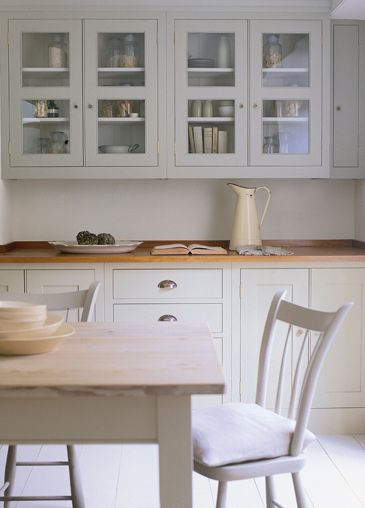 I like the beech worktop and the white, but I'd probably suggest grey or  something that didn't show dirt so much...Nice glass windows, we'd have to be really tidy though! I don't like the drawer handles