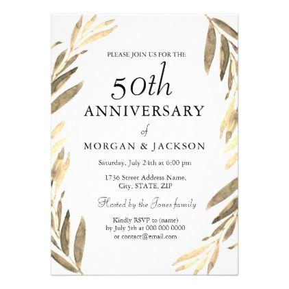 Gold Leaf Wreath 50th Wedding Anniversary Invite - invitations custom unique diy personalize occasions