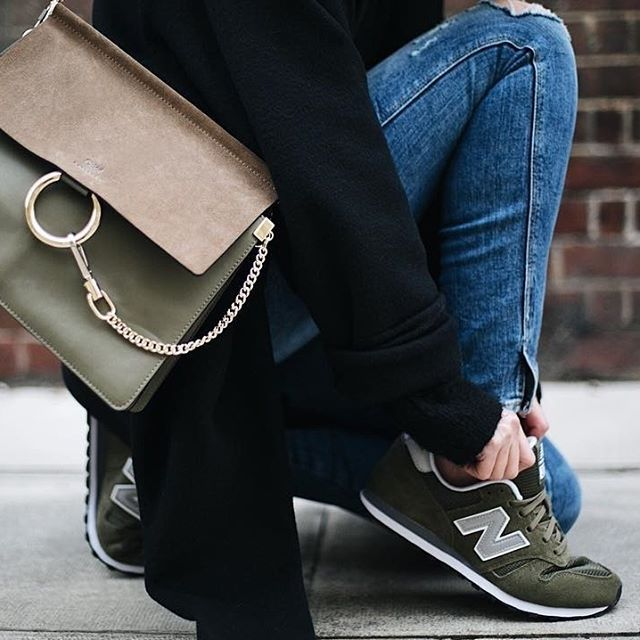 Love the matching olive green New Balance shoes and Chloe handbag ❤️ Get this complete look for $115 or individual items from $6 See: http://www.cultureofstyle.com/lookbook