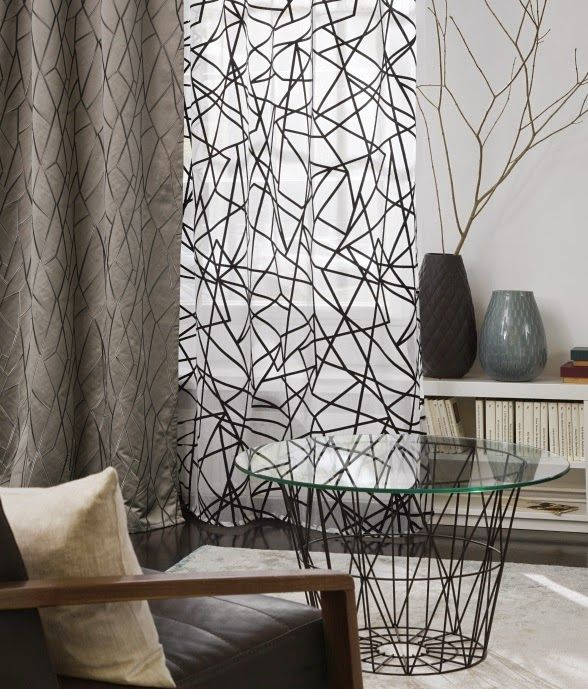 ROUTE COLLECTION: Caida y visillo #geometrico. / Caiguda i cortina #geometrica. #rasch #ontariofabrics