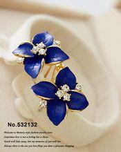 Koyu Mavi Safir/Beyaz Emaye Çiçekler Saplama Küpe Kız Kadınlar Için Rhinestone Kristal Moda Takı 2013(China (Mainland))