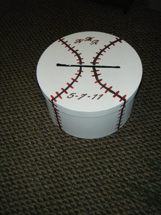 baseball...Oh yeah..Great for raffle tickets or donations at fundraisers.  Definitely making one of these.