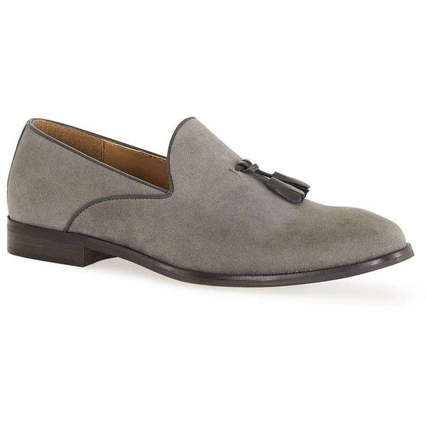 TOPMAN Grey Faux Suede Loafers ($49) ❤ liked on Polyvore featuring men's fashion, men's shoes, men's loafers, brown, mens brown loafer shoes, mens grey shoes, mens tassel shoes, mens loafer shoes and mens tassel loafer shoes