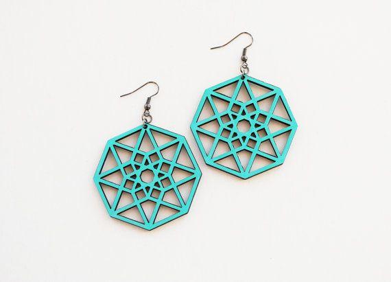 Geometric earrings hypercube earrings sacred by elfinadesign