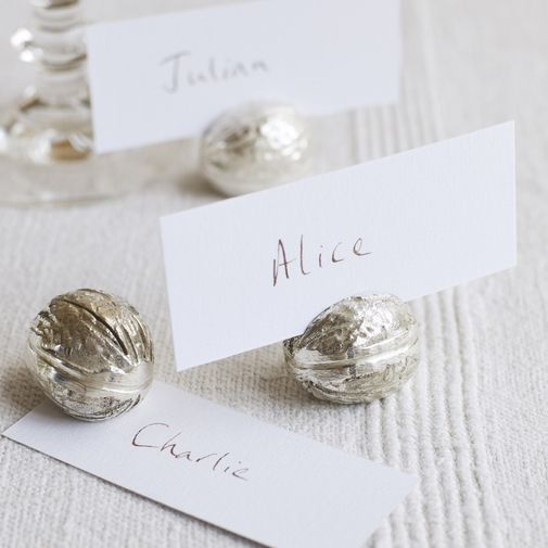 what a great idea for Christmas dinner - Walnut Place Card Holders