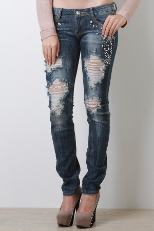 skinny jeans with holes in them - Jean Yu Beauty