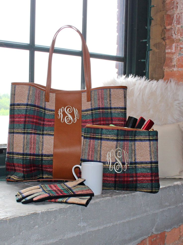 NEW Monogrammed Leather and Plaid Collection! https://marleylilly.com/product/monogrammed-plaid-tote-bag/