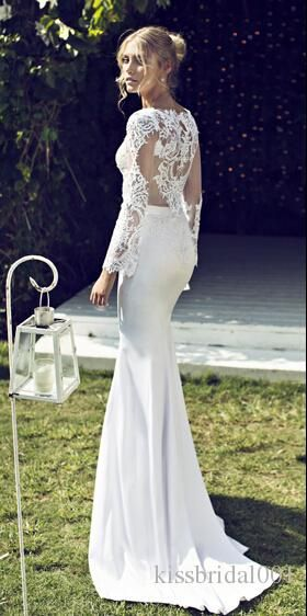 Popular Wholesale Vintage Lace Wedding Dresses Long Sleeves Sheer Bridal Gowns Sheath Sexy V Neck Hollow Back Floor Length Satin Wedding Gowns