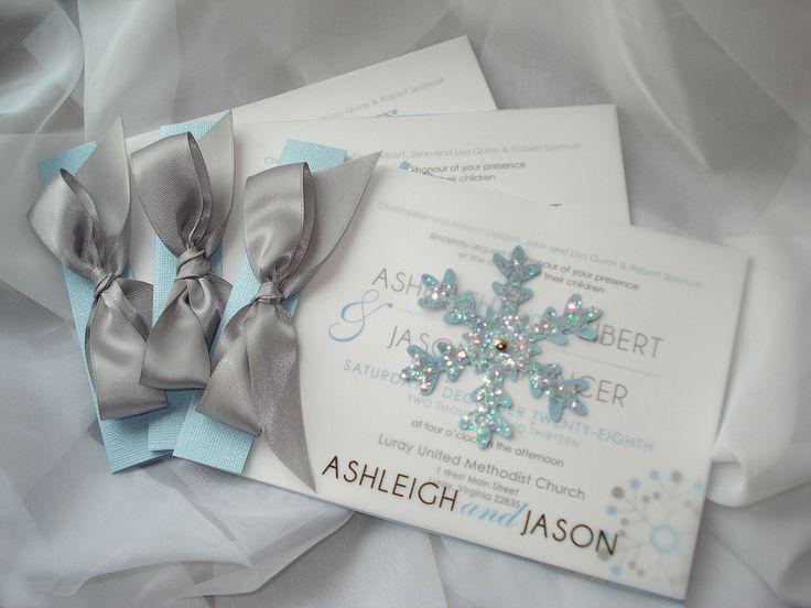 Winter Wonderland Glitter Snowflake Ice Crystal Silver Gray Blue Black  White Vellum Transparent Modern Booklet Wedding Invitation   Sample By  Envymarketing ...
