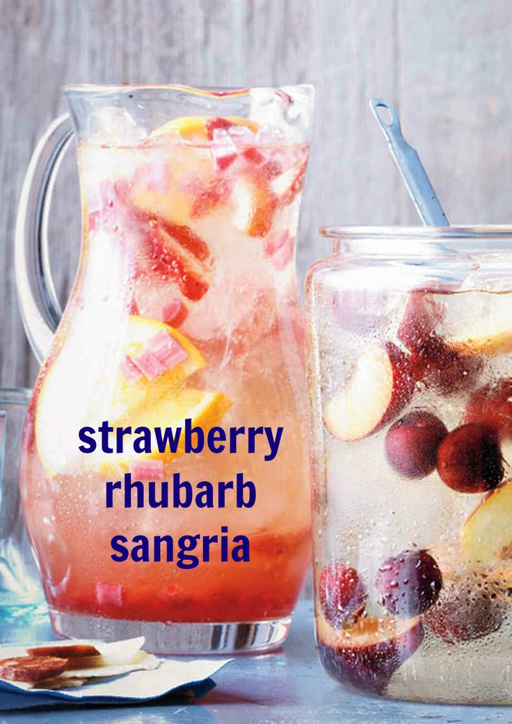 Bubbly and fruity, this big-batch pitcher cocktail is perfect for your spring parties. It's made with fresh orange juice, cooked rhubarb, strawberries and sparkling wine.