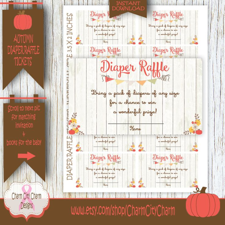 Pumpkin Diaper Raffle Tickets, Little Pumpkin Diaper Raffle Cards, Little Pumpkin Shower, Autumn, INSTANT DOWNLOAD - GS002-004 by charmcitycharm on Etsy