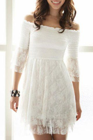 Sexy Slash Collar 3/4 Sleeve Pure Color Layered Women's Dress Lace Dresses | RoseGal.com Mobile