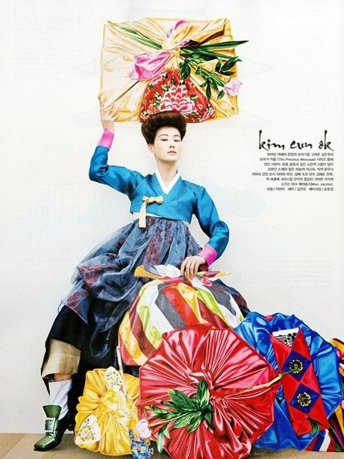 Korean modern han-bok and silk wrapping cloths by kimhyesoon