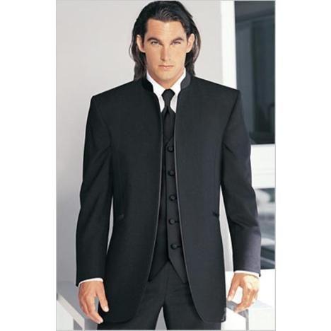 Buttonless Black Collar Mandarin Tuxedo Suit