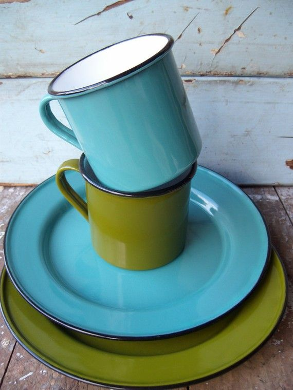 Vintage Enamelware Camping Dishes By WhatsNewOnTheMantel On Etsy