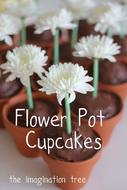 How to make easy flower pot cupcakes. Repinned from Vital Outburst clothing vitaloutburst.com