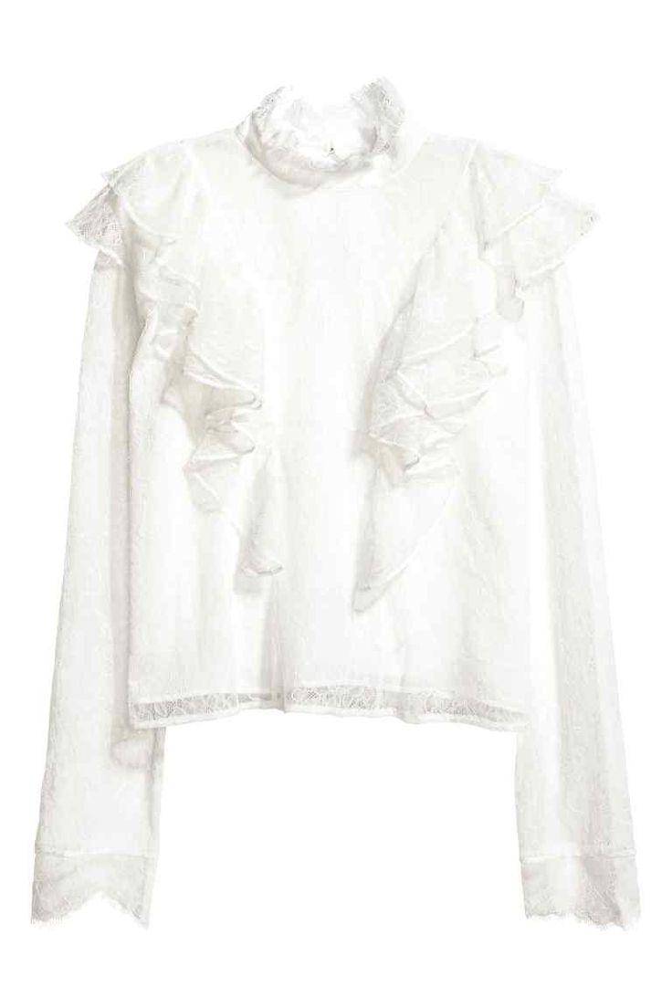 Kanten blouse - Gebroken wit - DAMES | H&M NL