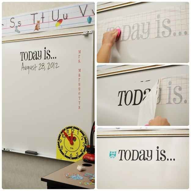 Classroom Whiteboard Decoration ~ Use vinyl transfers to make semi permanent decals for