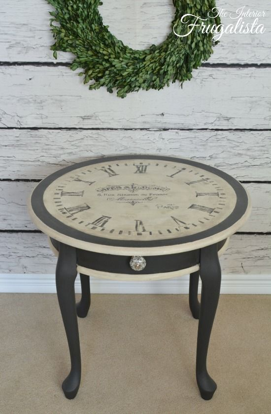 A vintage clock face with French Typography table makeover/interiorfrugalista.com
