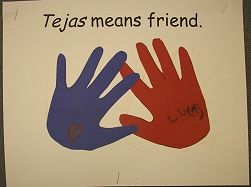 Cute idea for Texas unit.  One friend prints their hand over another...then write their names when it's dry.