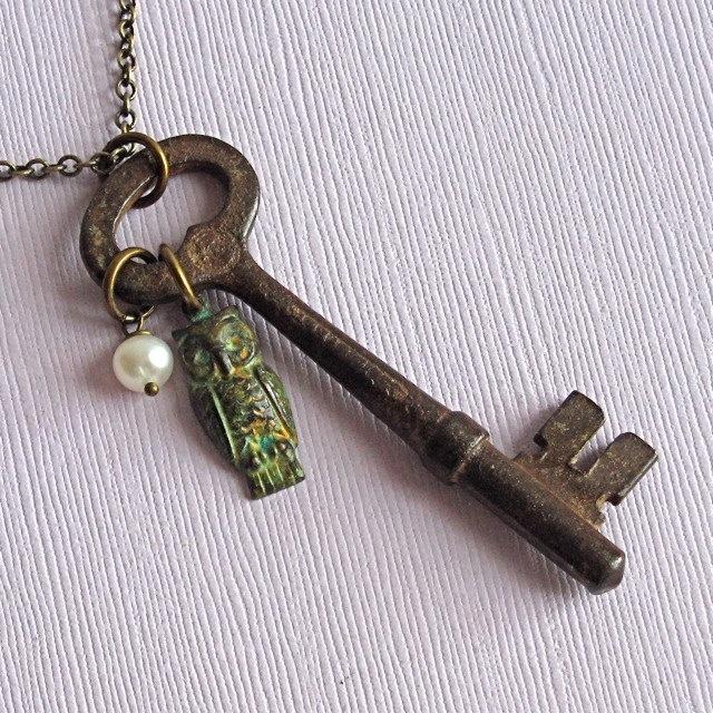 Skeleton Key/ Owl Jewelry Necklace Verdigris Patina. $32.00, via Etsy.