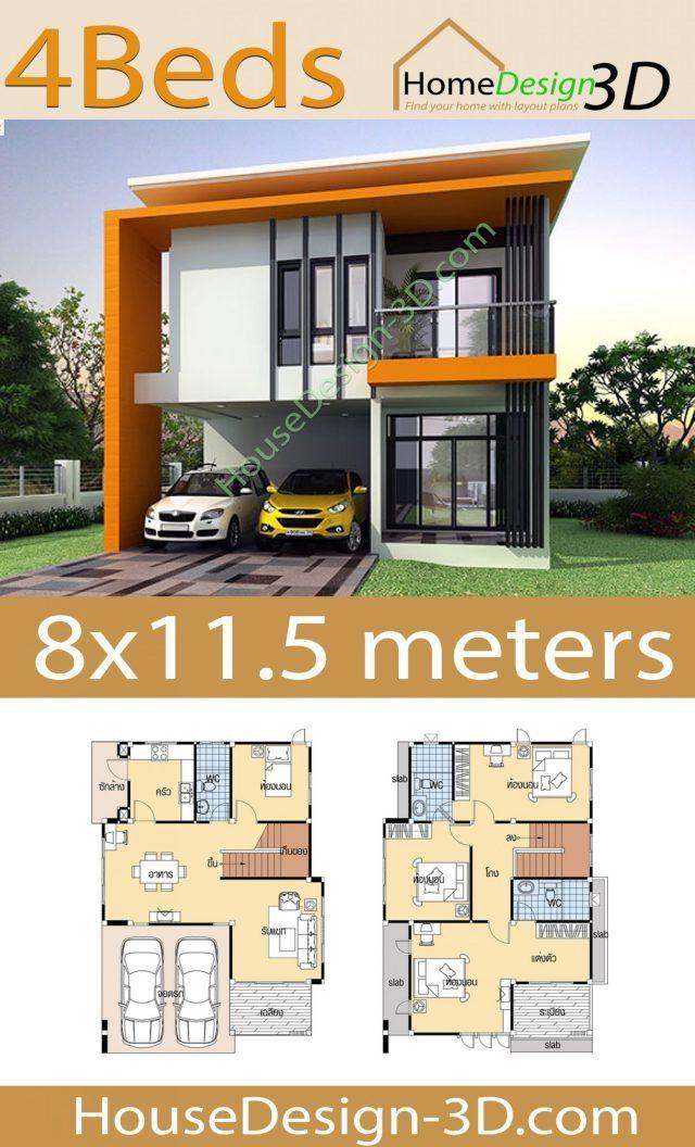 House Design 3d 8x11 5 With 4 Bedrooms House Design 3d In 2020 Model House Plan House Architecture Design Unique House Plans