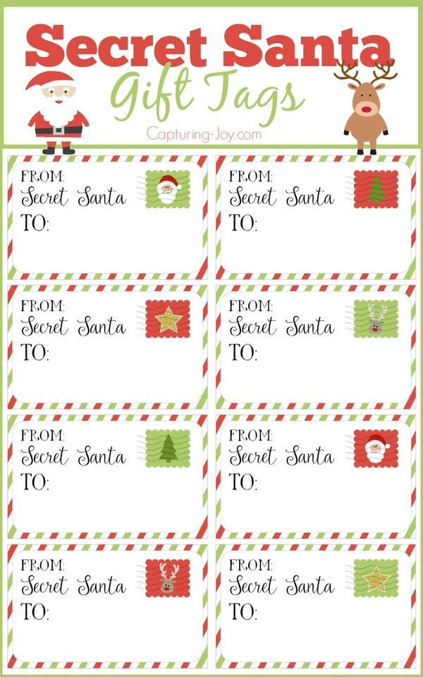 Secret Santa Gift Tags for Christmas and tips for an effective gift exchange!  Free printables on Capturing-Joy.com