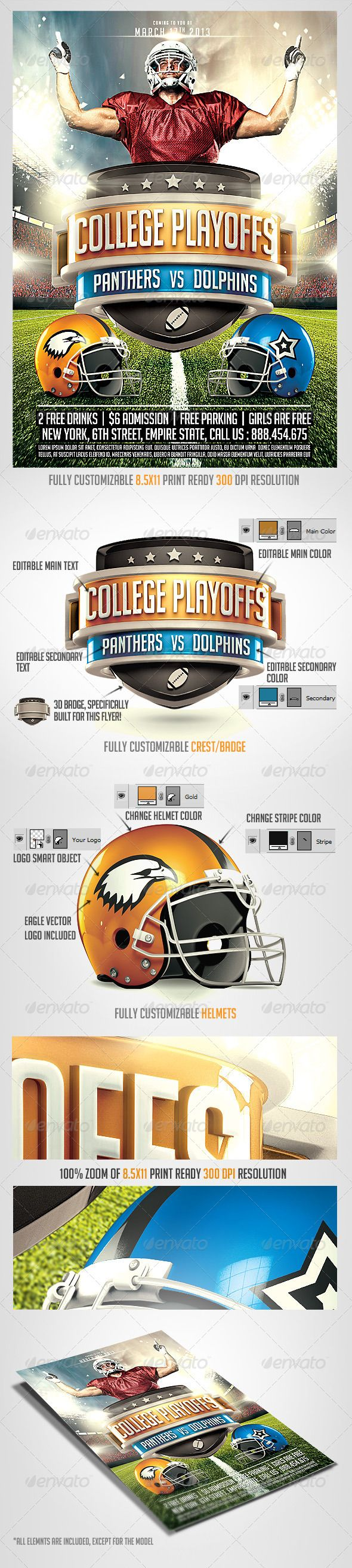 Football Superbowl 2014 Big Game Flyer Template - Sports Events