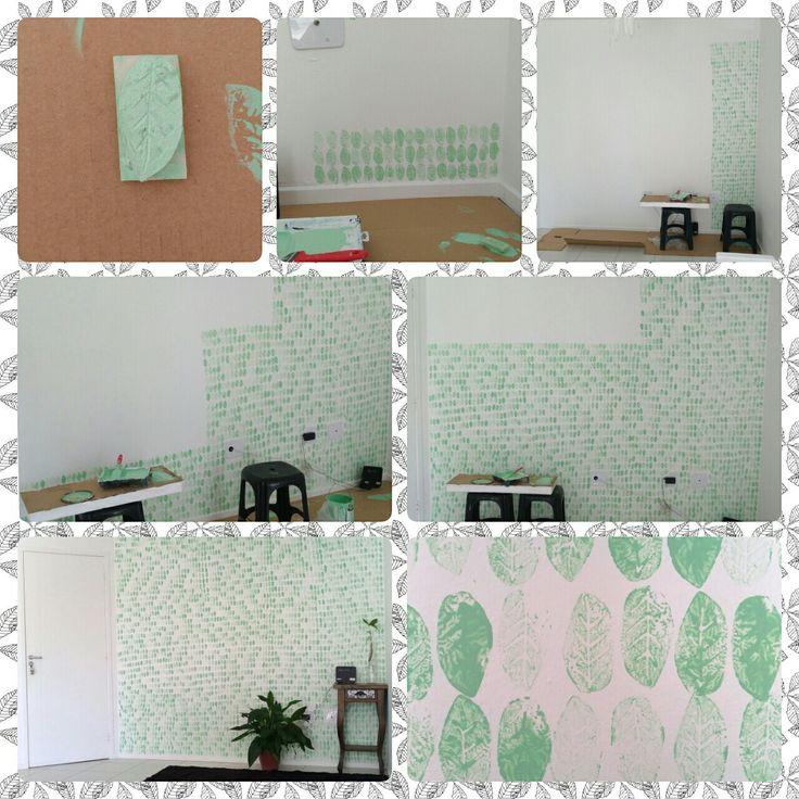 DIY - Decoração, parede de folhas