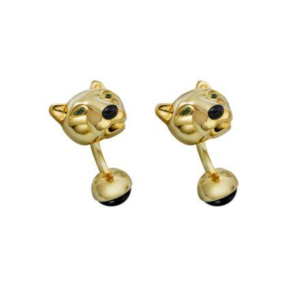 Cartier - Panthère Head Gold Cufflinks - Yellow Gold, Tsavorite & Onyx.