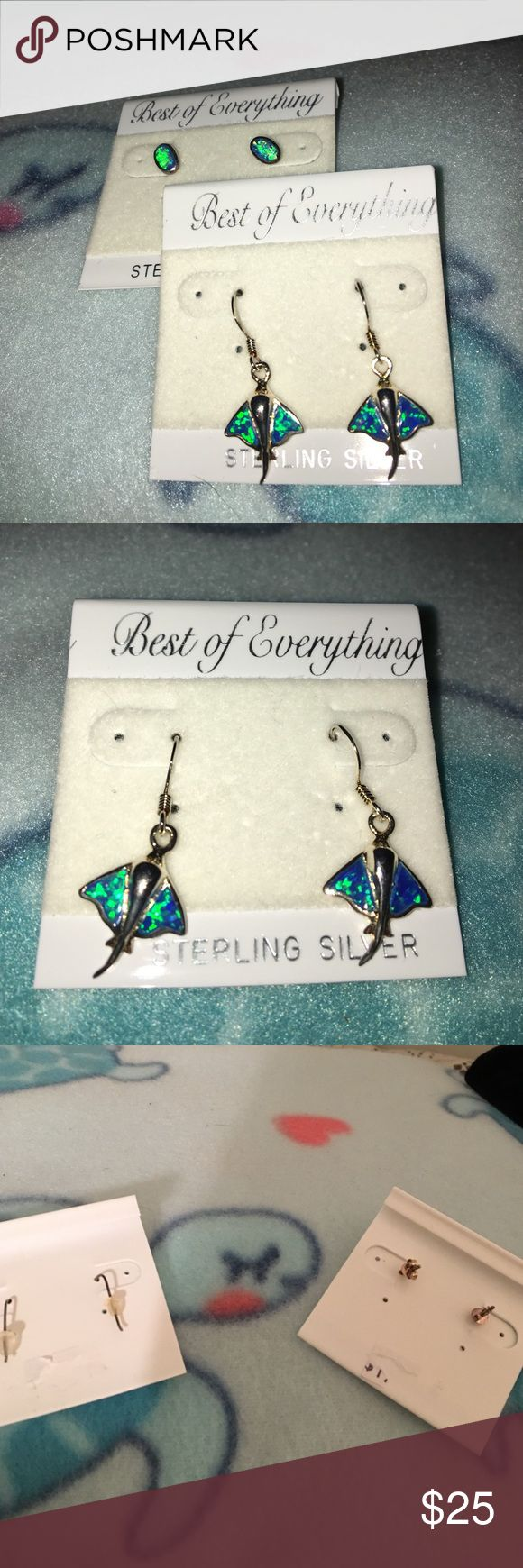 2 Pr Sterling Earrings Floridian touch turquoise stone earrings Best of Everything Jewelry Earrings