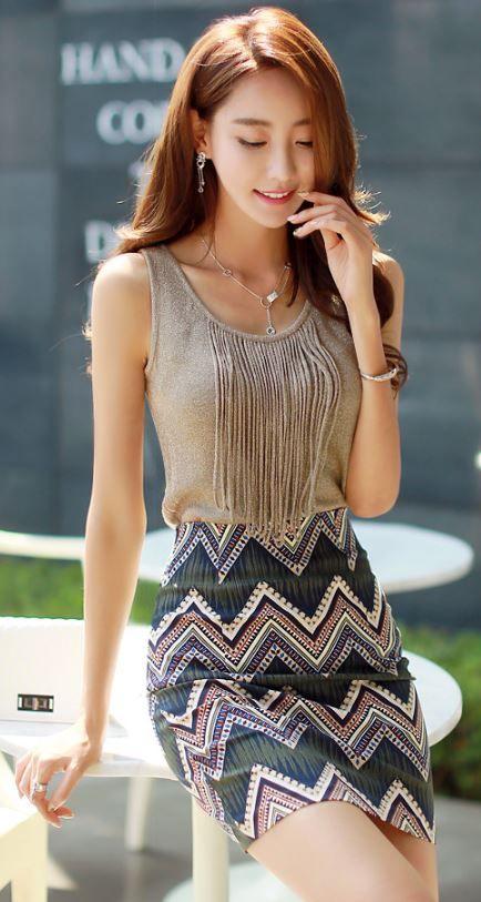 StyleOnme_Ethnic Zig-Zag Print Pencil Skirt #summer #fashion #kstyle #chic…