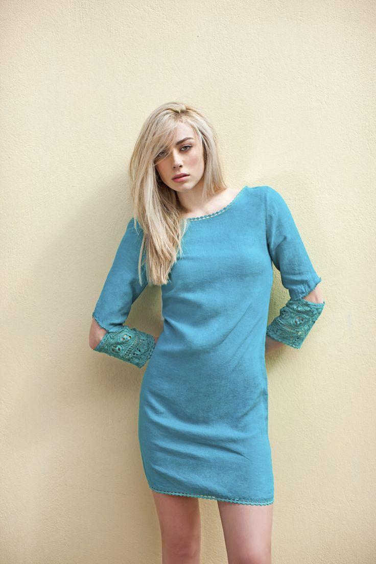 Haris Cotton, Linen Dress with Cotton Lace 1364 Teal