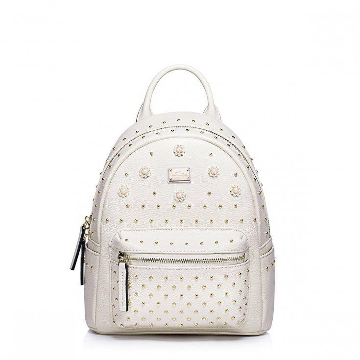 Beige Leather Backpack With Silver And Pearl Flowers #sumerbackpack #backpack #nucelle #flowerbackpack #exclusivebackpack #leatherbackpack