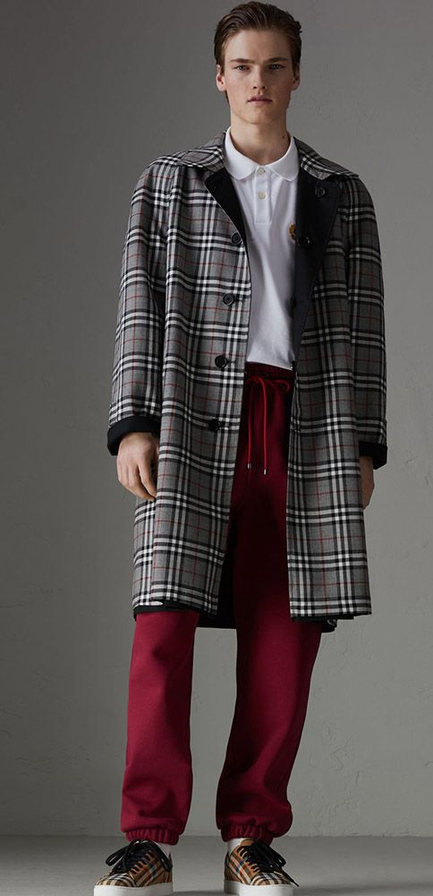A reissue of a reversible 1980s #Burberry #CarCoat in cotton-blend gabardine and contrasting check wool