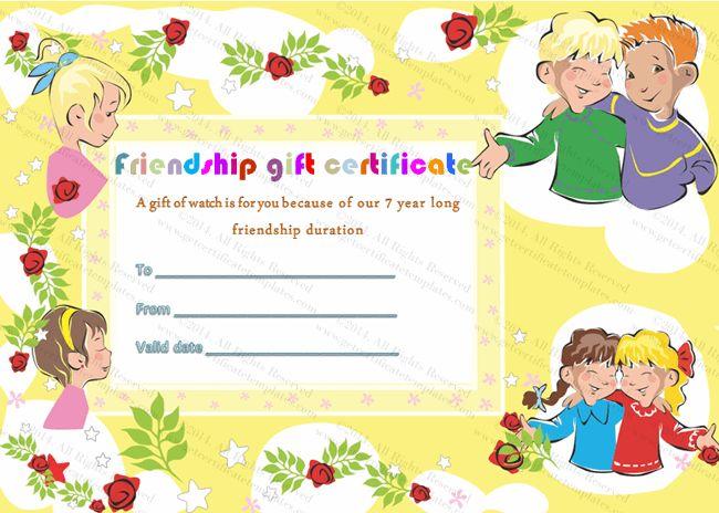 Friendship Gift Certificate Template – Friendship Card Template