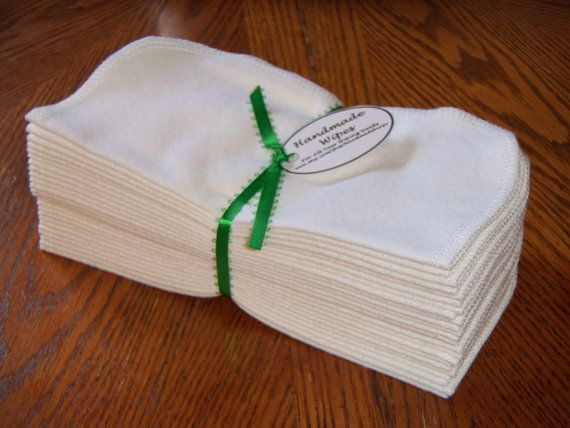Cloth Baby Wipes, Reusable Cloth Wipes, White Flannel Cloth Baby Wipes, Wash Cloths, Napkins, Set of 24. $9.99, via Etsy.
