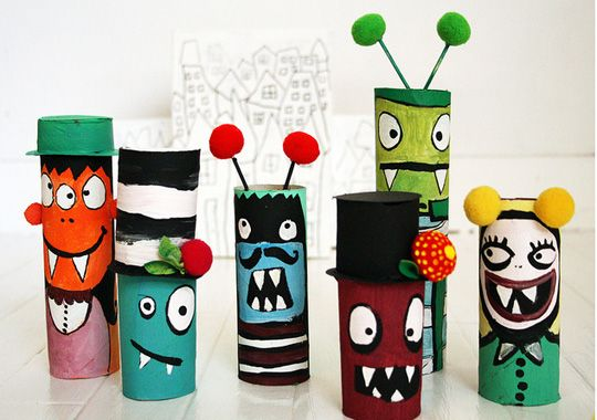 Recycled art: toilet paper roll crafts for kids.