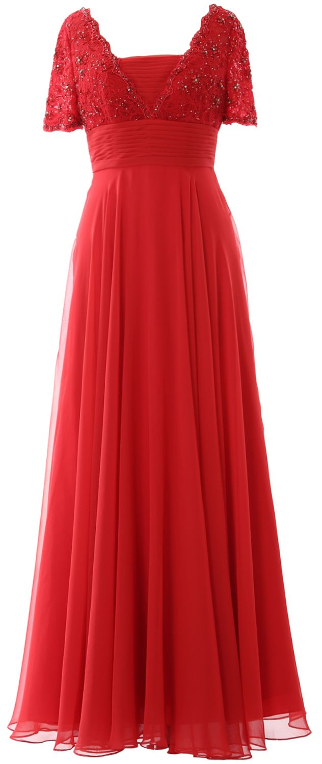 MACloth Women Lace Formal Evening Gown Short Sleeves Maxi Mother of Bride Dress