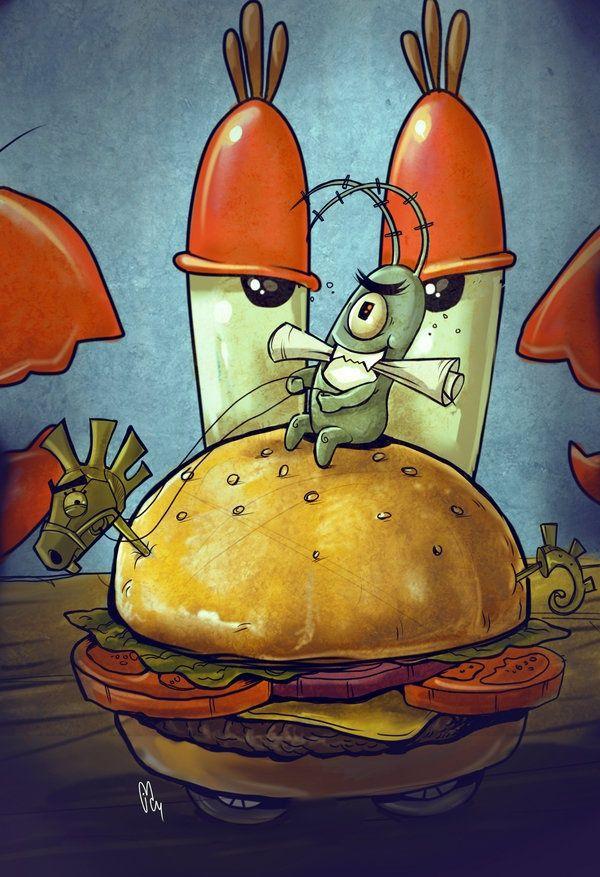 Plankton trying to steal Mr. Krabs' secret Krabby Patty Formula