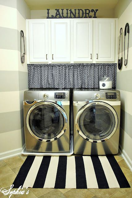 Sophia's: Laundry Room RevealDecor, House Tours, Curtains, Stripes Wall, Room Reveal, Room Ideas, Laundry Rooms, Safety Pins, Laundryroom