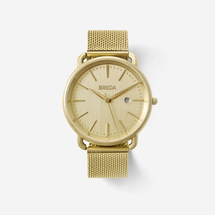 BREDA Men's 'Linx' 5016a Gold Stainless Steel Mesh Bracelet Watch, 42MM