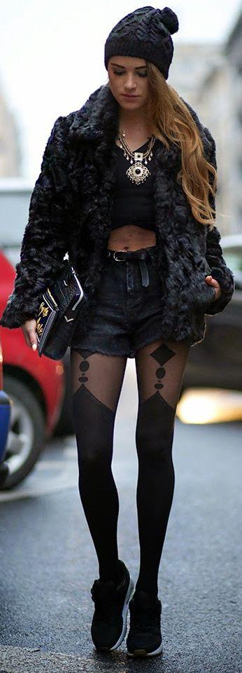 Black Faux Fur Jacket by Maffashion