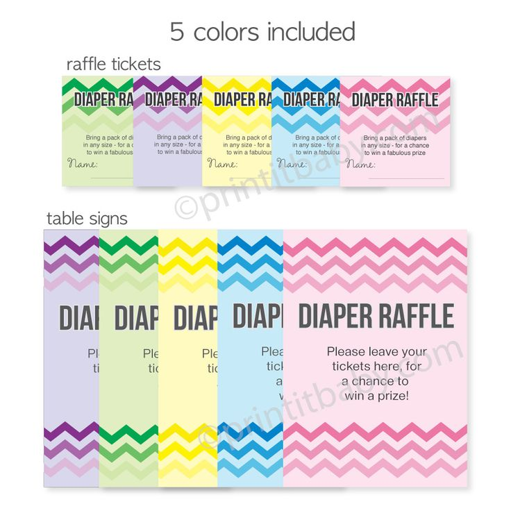 Chevron Ombre Diaper Raffle Tickets - print from home!