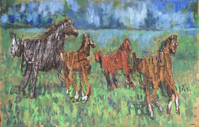 """Koniki"", ""Small horses""  90 x 60 cm"